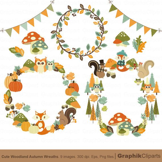 Cute Autumn Wreaths Clip Art. Autumn Clip Art. by Graphikcliparts