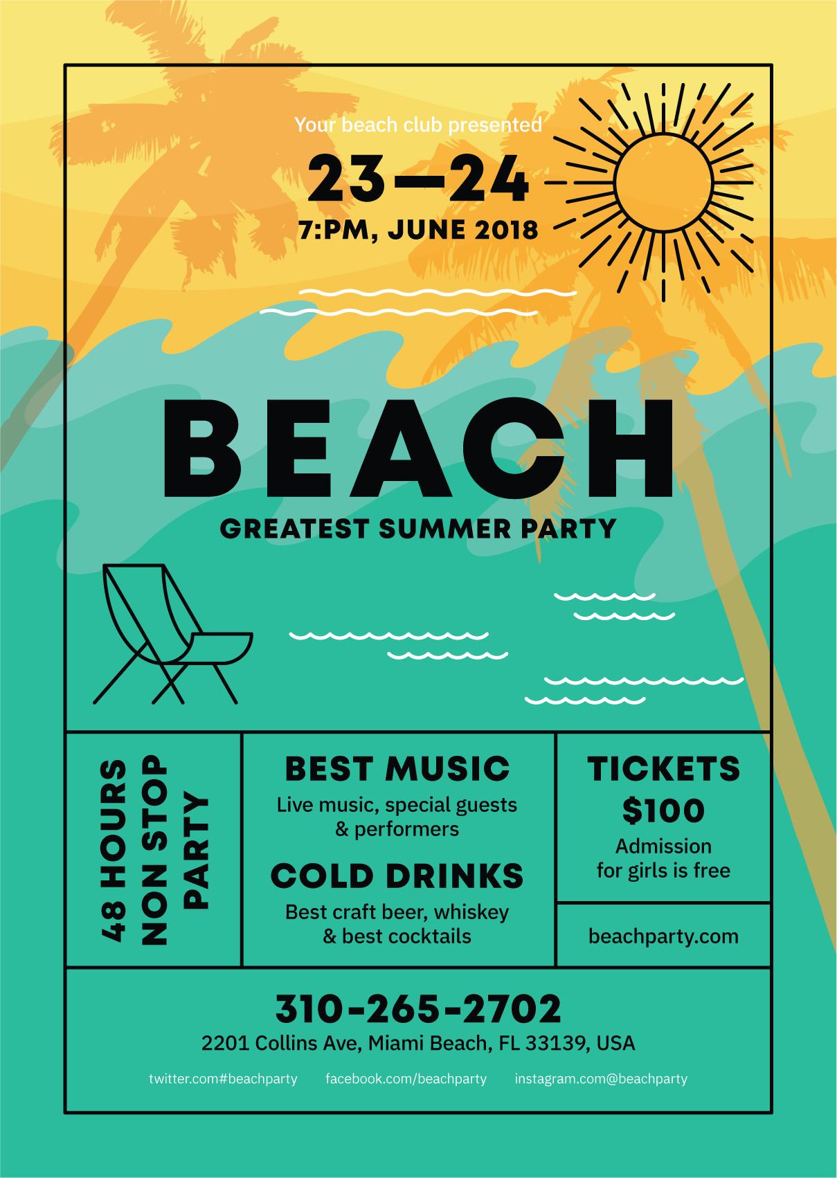 Beach Poster Template Event Poster Design Layout Poster Design Software Event Poster Design