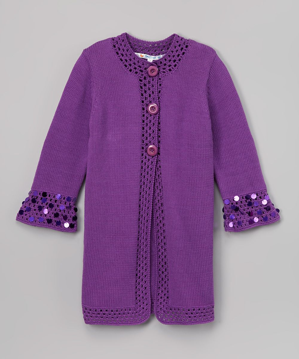 Purple Sequin-Cuff Cardigan - Girls | Cardigans, Purple cardigan ...