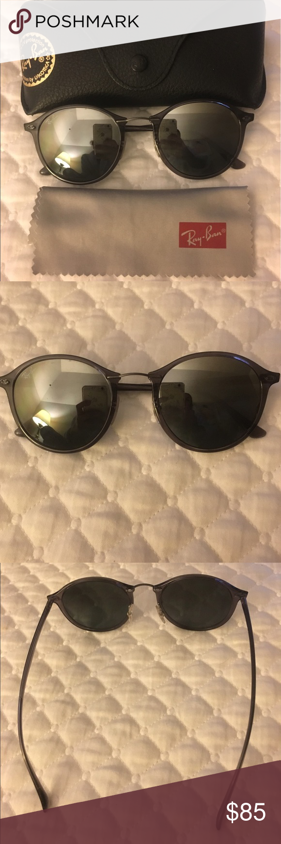 661572e01 Ray-Ban Round Light Rays Sunglasses Authentic Ray-Ban Round Light Ray  Sunglasses// Gently used// logos on the lens and arm// Metal accent nose  bridge// ...