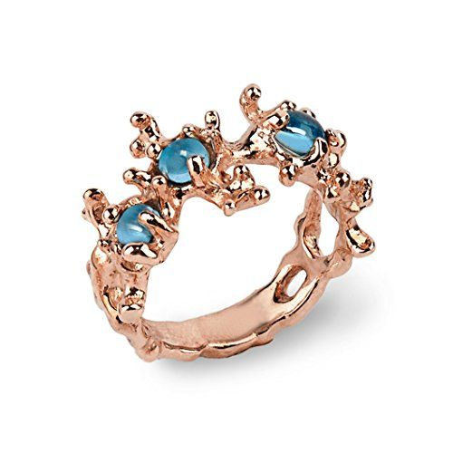 18k Rose Gold Plated Sterling Silver Natural Swiss Blue Topaz Gemstones Coral Reef Organic Statement Ring, Size 4 to 13