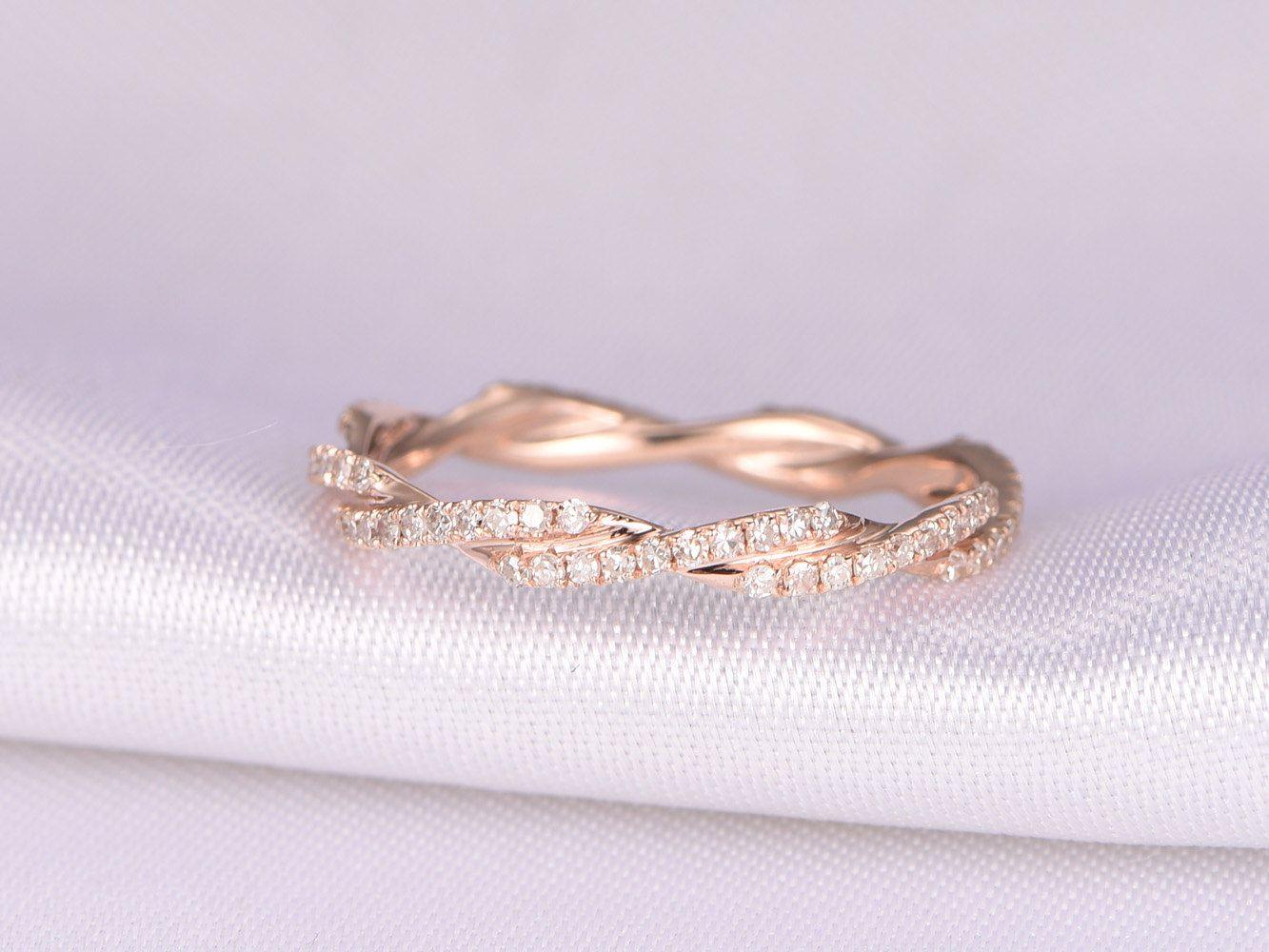 infinity diamond wedding band Criss Cross Ring Full Eternity diamond Wedding ring Twist wedding band Anniversary ring
