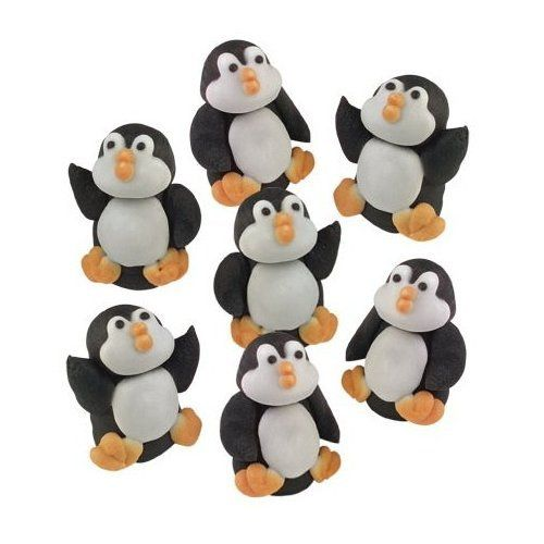 sugar penguins 3d edible sugar christmas cupcake toppers cake decoration amazonco - Christmas Cake Decorations Amazon