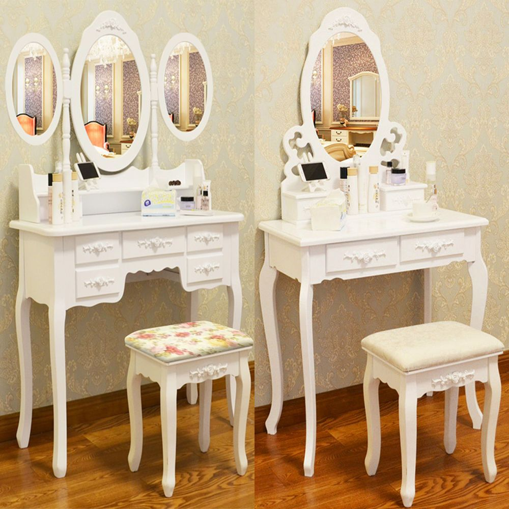 Details About White Dressing Table Vanity Makeup Desk With