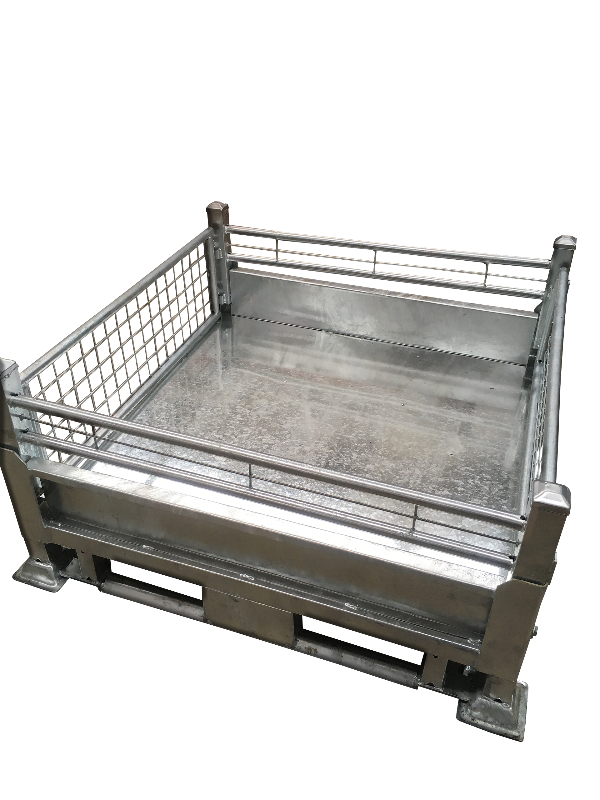 Omni Tuff Shield Collapsible International Pallet Stillage Galvanised Stackable Pallet Racking Compatible Anti Tipping Bars R Steel Cage Pallet Rack Metal