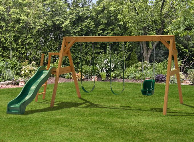Building a toddler playground sets free standing a frame for Building a wooden swing