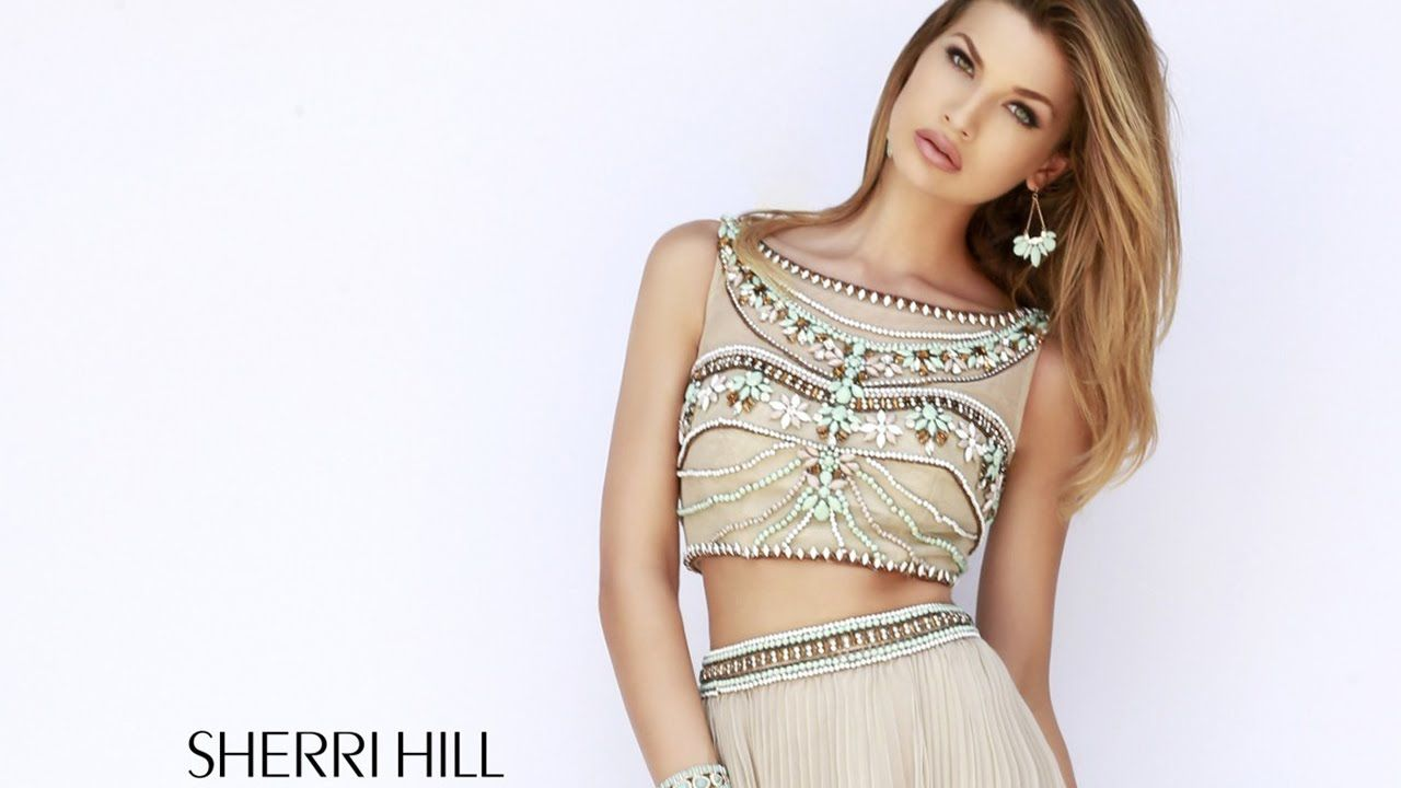 Sherri hill prom dress bateau neckline twopiece pleated skirt