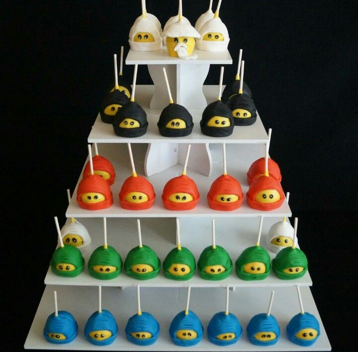 Lego ninjago cake pops kindergeburtstag food pinterest ninjago geburtstag ninja - Cake pops 50 geburtstag ...