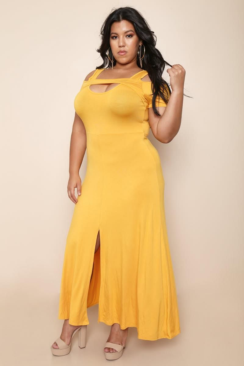 Play dress up with this sexy plus size evening dress features a low