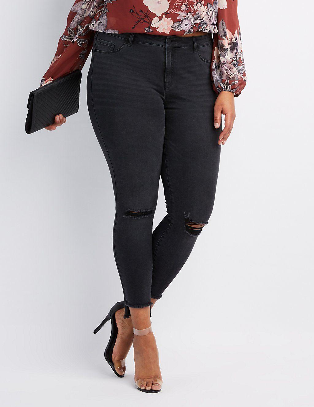 d6578bc573df4 Plus Size Refuge Skin Tight Legging Destroyed Jeans