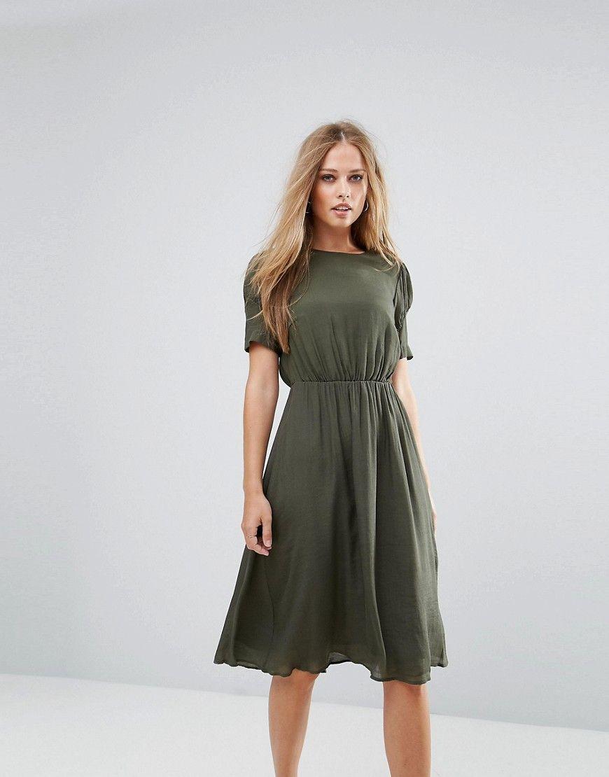 Y.A.S - Kleid mit geraffter Taille - Grün Jetzt bestellen unter ...