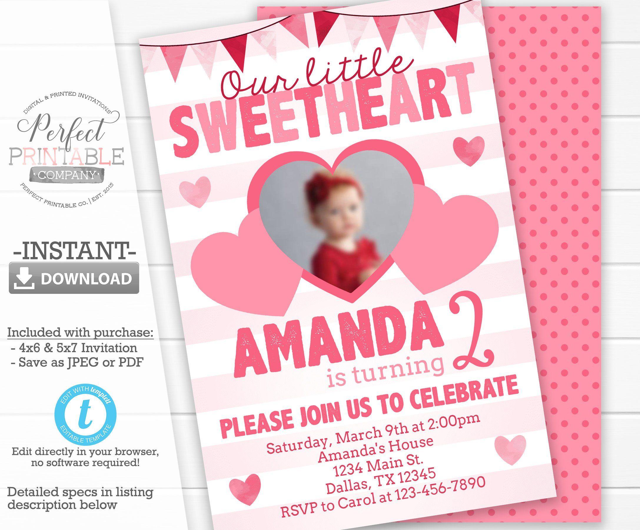 Sweetheart Birthday Invitation Valentines Birthday Invitation
