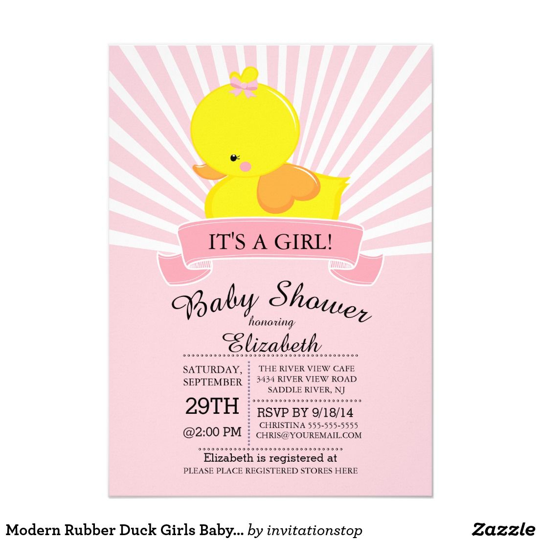 Modern Rubber Duck Girls Baby Shower Invitation Modern bold & cute ...