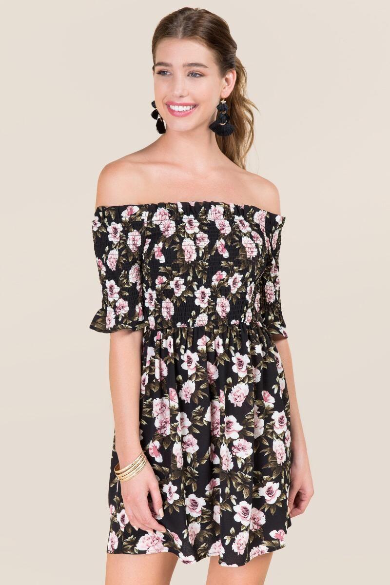 bab79eaab8e0 Rochelle Smocked Off Shoulder Floral Dress | francesca's ...