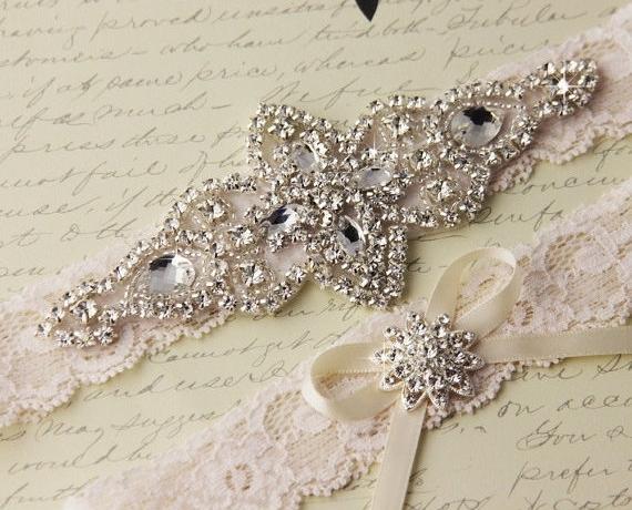 15 Off Ivory Lace Garter Set Wedding Bridal Rhinestone