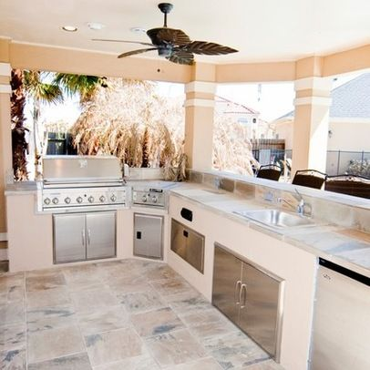 Tropical Patio Outdoor Kitchen Design Ideas, Pictures, Remodel And Decor