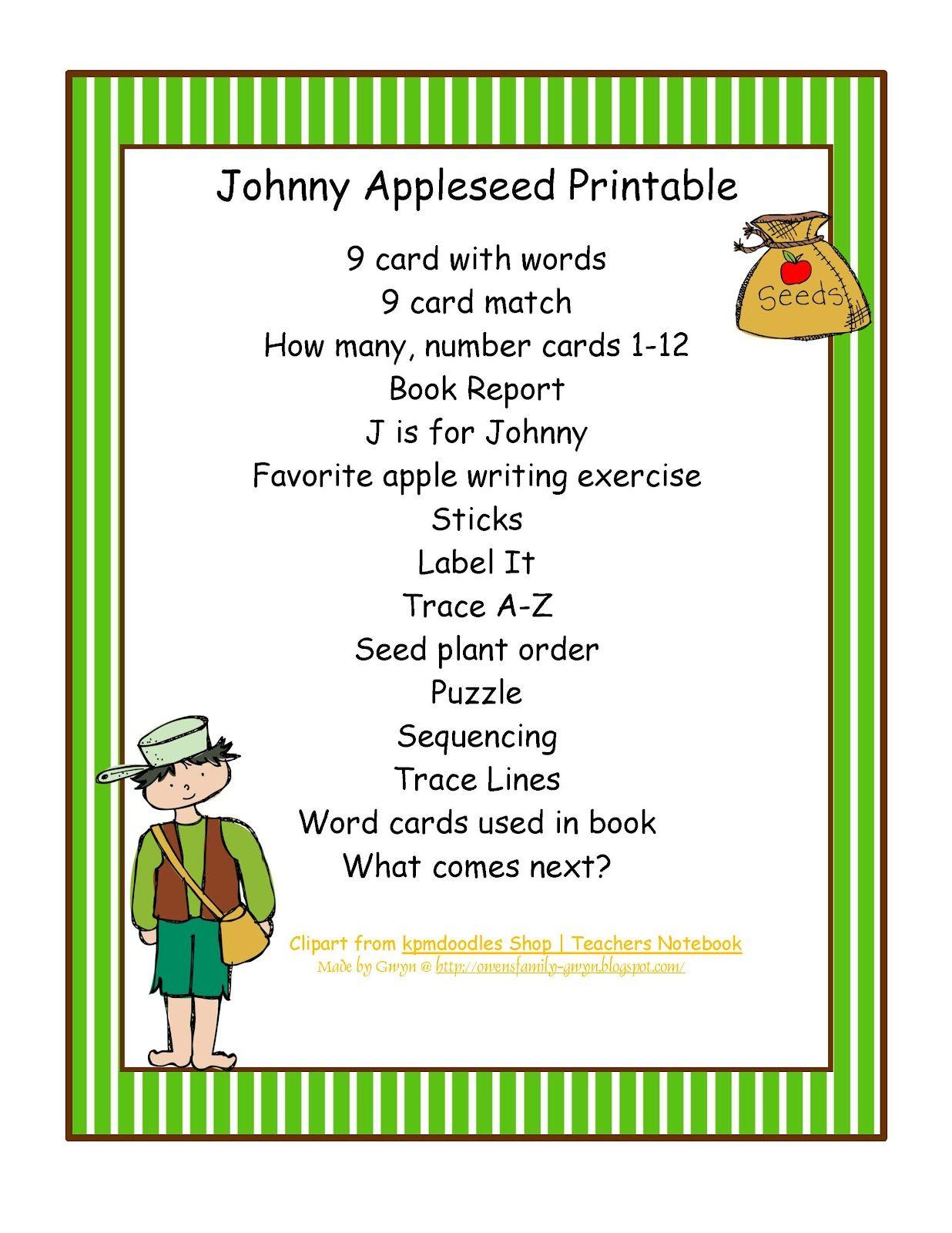 Preschool Printables Johnny Appleseed Printable