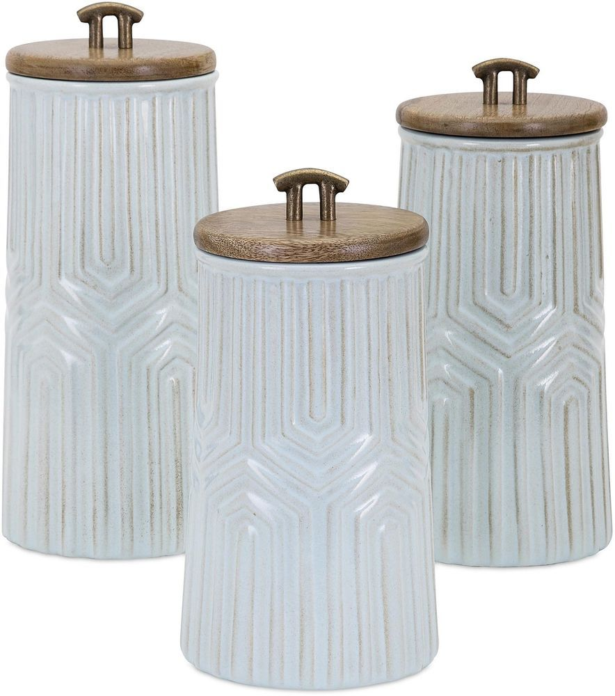Ceramic Tia Canisters Mango Wood Brown White Glazed Kitchen Storage ...