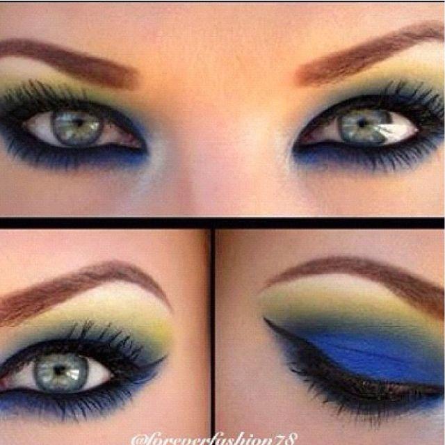 Blue And Yellow Eyeshadow Colorful Eye Makeup Eye Makeup