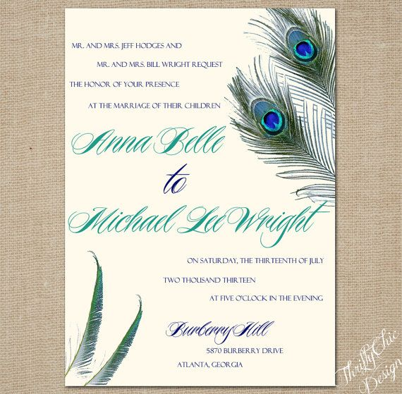 Rustic Peacock Wedding Invitation Set 5x7 By ThriftyChicPaperie 250