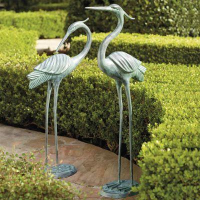 Set of Two Brass Garden Herons For the Garden  Patio Pinterest