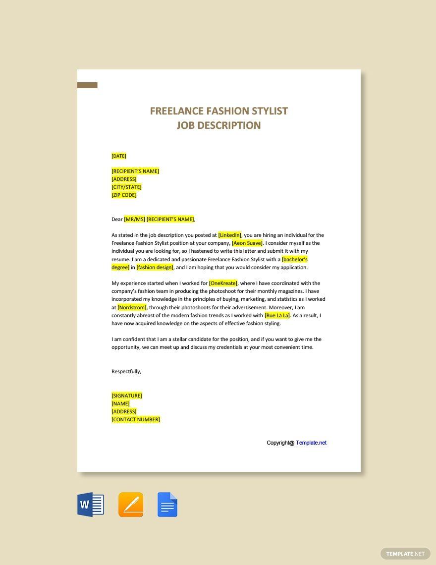 Free Freelance Fashion Stylist Sample Cover Letter Template Ad Ad Fashion Stylist Free Freelance Cover Letter Template Lettering Letter Templates