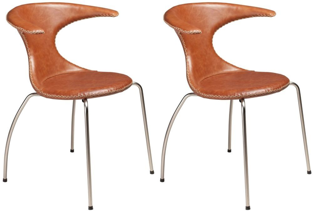 Flair Light Brown Leather Dining Chair With Chrome Legs Set Of 4