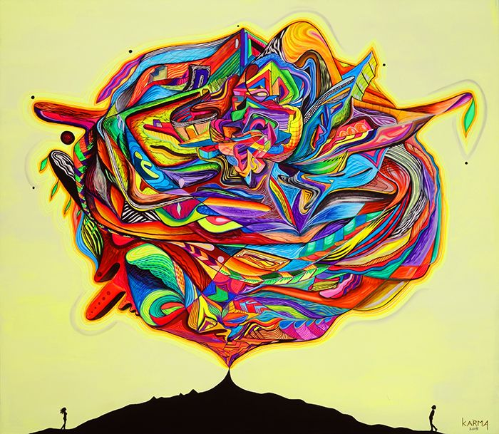 AVAILABLE In Wonder Of Light Rhythm Acrylic Paint Marker On Canvas