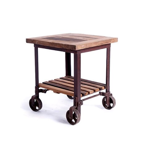 Factory Cart End Table At Hudsongoods