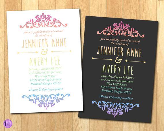 Pastel Rainbow Gradient Wedding Invitation with RSVP Card
