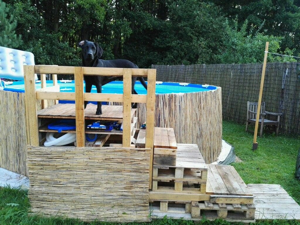 Diy swimming pool dog pallet stairs above ground pool for Pileta palets