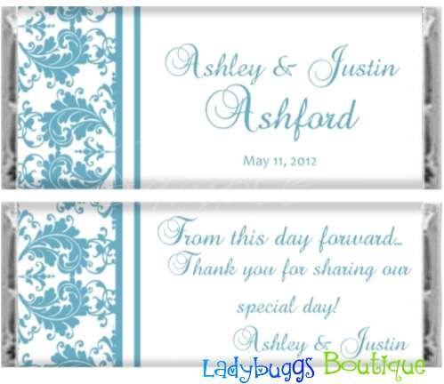 Malibu Blue Damask Bridal Wedding Candy Bar Wrer Reception Favor