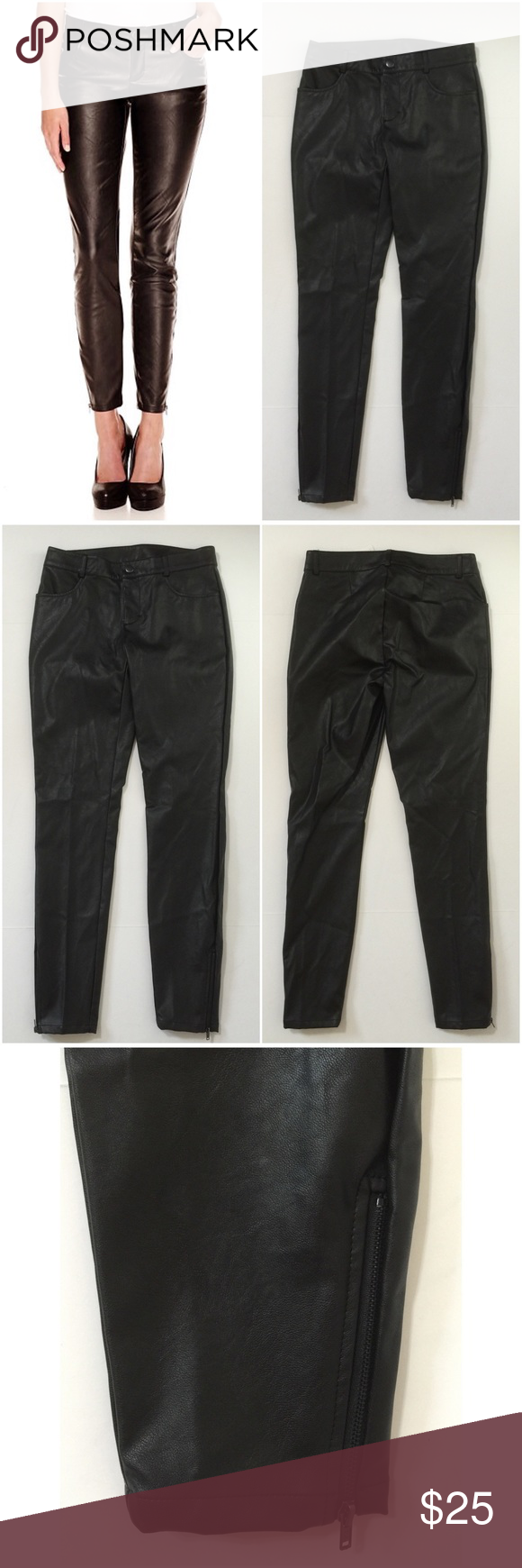 73dbb9393939a Decree Black Faux Leather Pants Size 3 Decree Women s Faux Leather Ankle Pants  Size 3 Black