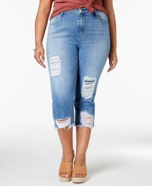 b5322cd60b Seven7 Trendy Plus Size Ripped Jeans - Blue 18W in 2019