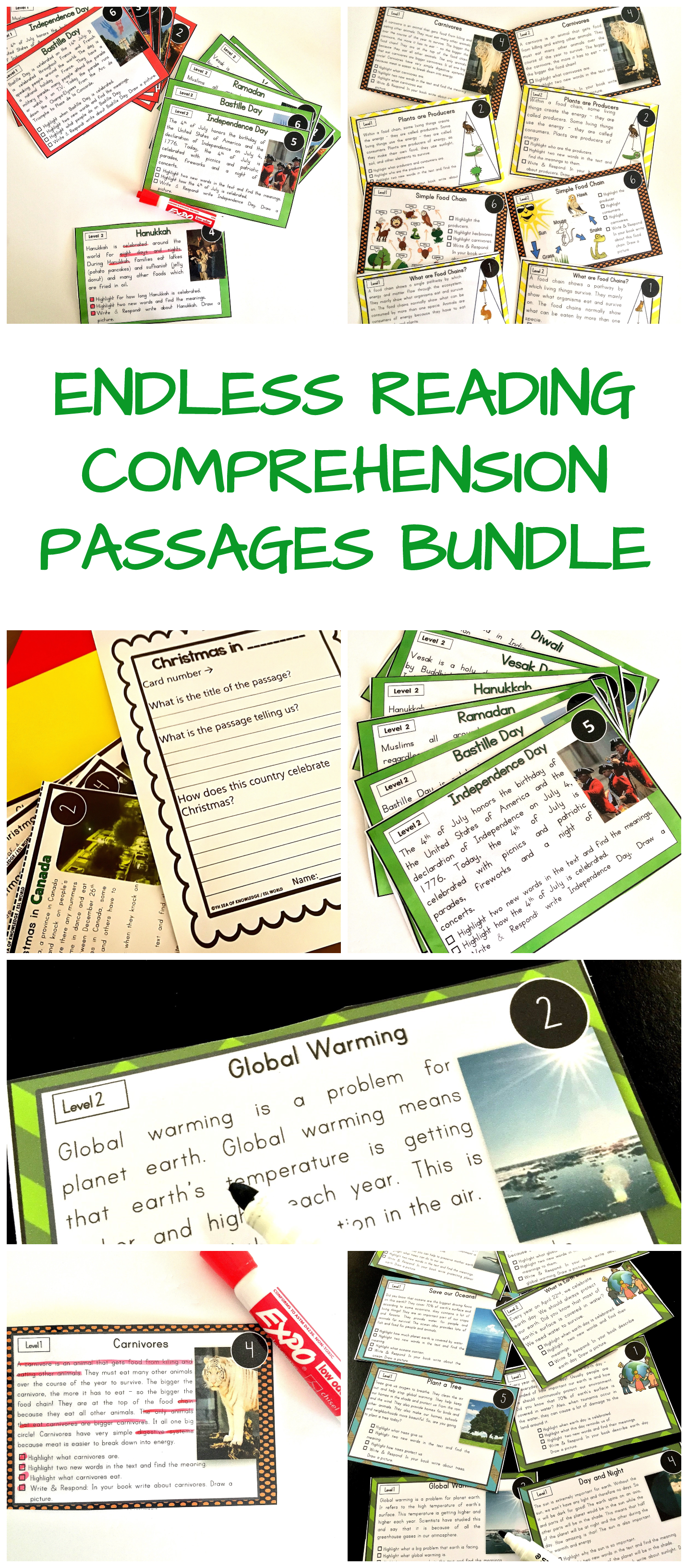 Leveled Nonfiction Reading Comprehension Passages With
