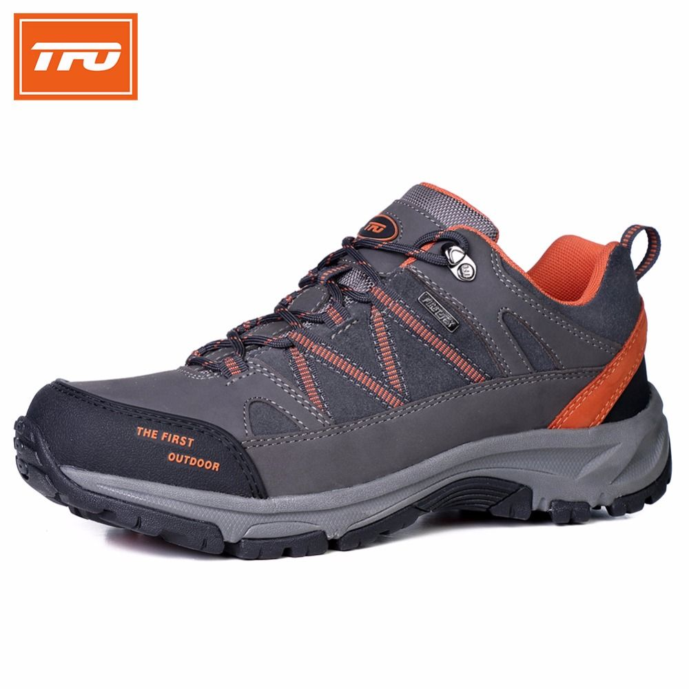 74743ec431c11 TFO Man Hiking Shoes Men Genuine Leather Climbing Shoes Breathable Sport  Hunting Athletic Shoes Outdoor Waterproof