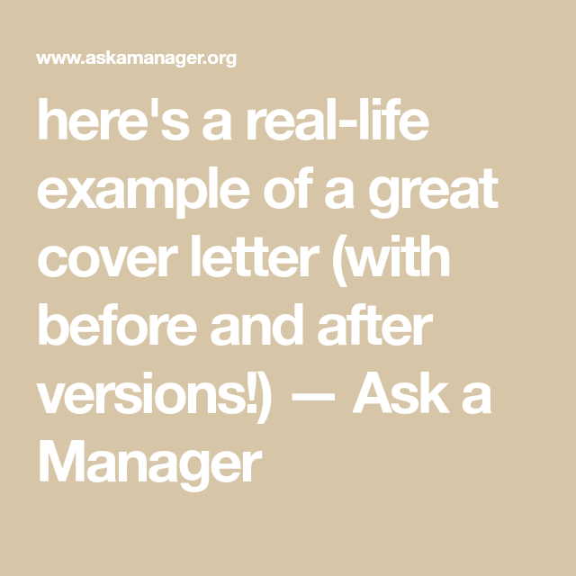 Heres A Real Life Example Of Great Cover Letter With