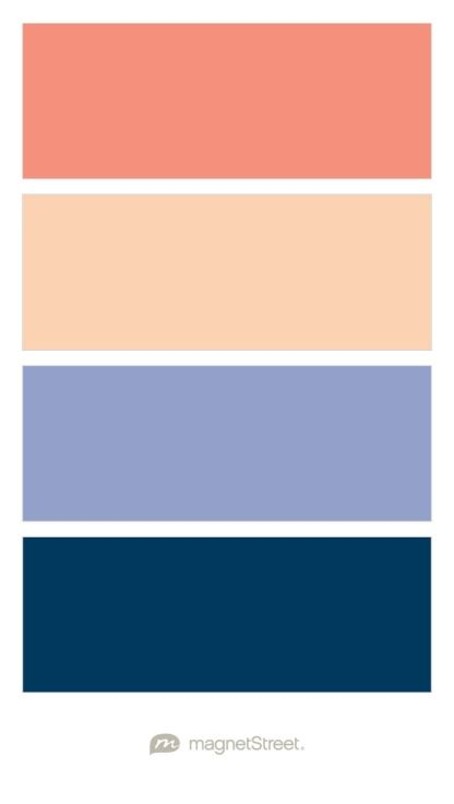 Coral Peach Periwinkle And Navy Wedding Color Palette Custom