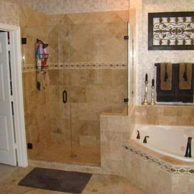 Glass shower next to corner tub with toilet closet master bath remodel options pinterest - Bathroom remodel corner shower ...