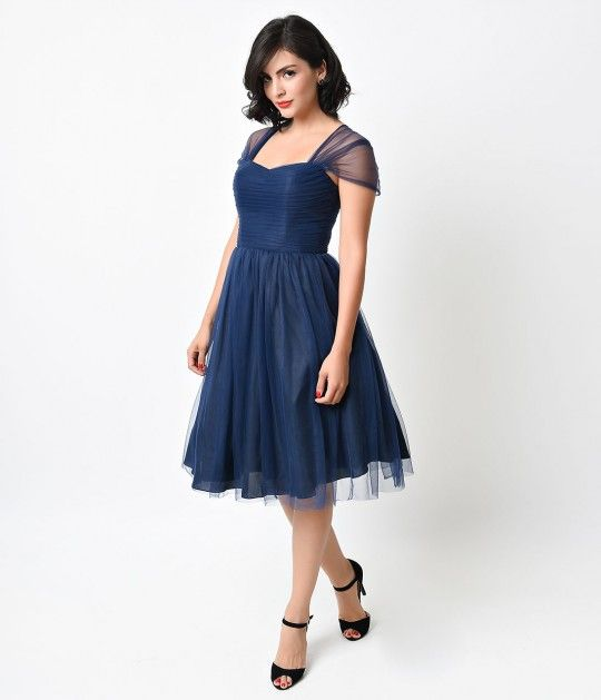 ab1bf2ff3a57f This gorgeous navy blue mesh dress is perfect for a garden party ...