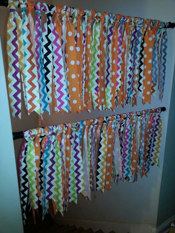 Classroom Curtain Design : Easy classroom curtains cut strips of fabric tie to