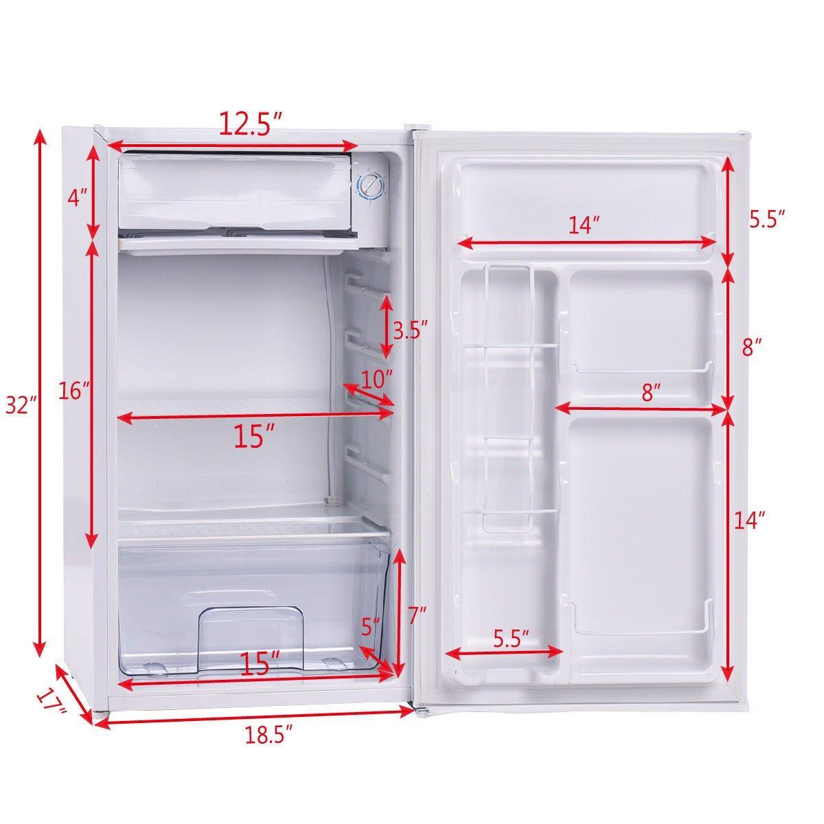 3.2 Cu. Ft. Compact Single Reversible Door Mini Refrigerator and ...