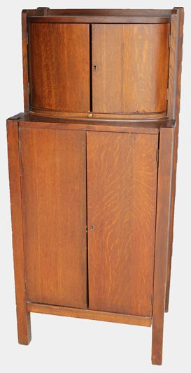 Merveilleux Mission Oak Liquor Cabinet With Humidor