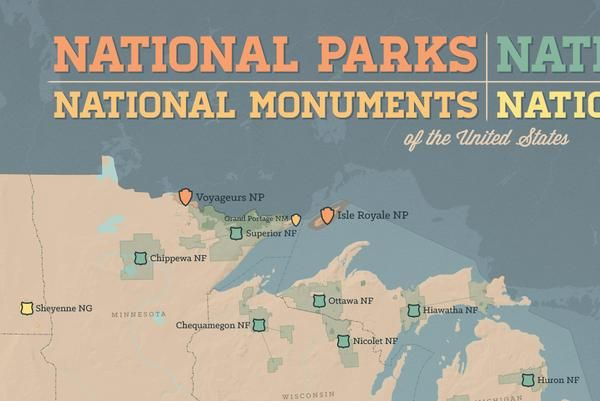 US National Parks, Monuments & Forests Map 24x36 Poster | Travel ...