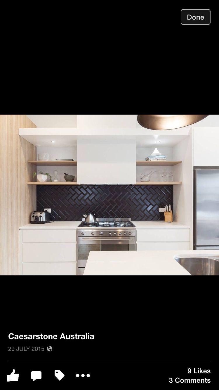 Black Tile Splashback Black Tiles Kitchen Splashback