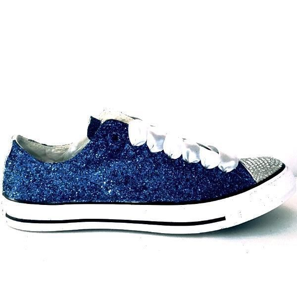... 33d54 39eea Sparkly Dark Navy Blue Glitter Converse All Stars sneakers  Shoes wedding bride bridal prom ... 111aee1a0135