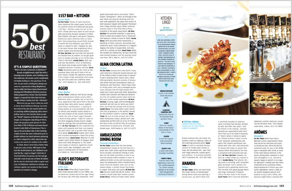 Baltimore Magazine. March 2016. Best Restaurants. Photography by Scott Suchman.