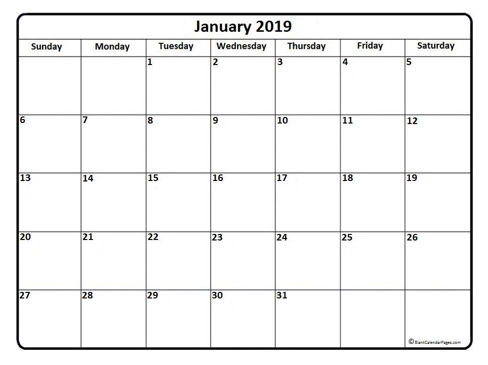 January Calendar Printable January 2019 Calendar January 2019