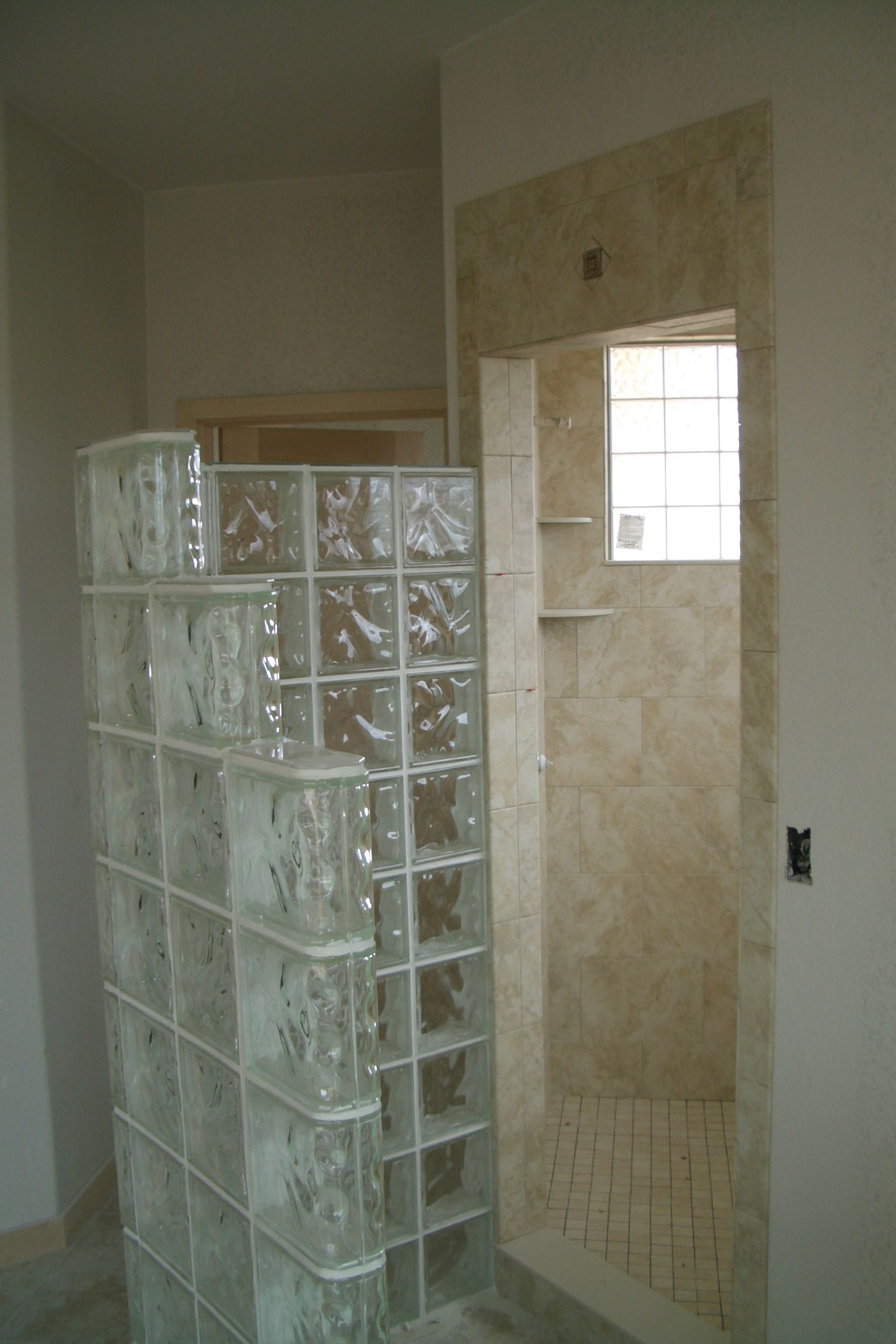 glass block as divider showers room also soft brown granite wall tiles bath as inspiring remodel