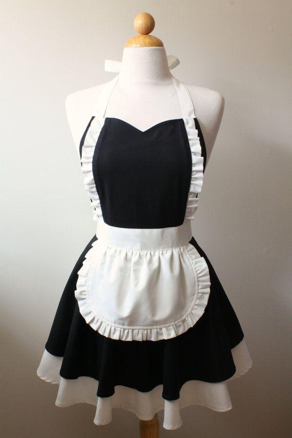 French Maid Apron Sweetheart Neckline Mimi Full Apron